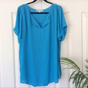 Daniel Rainn 2X Blue Short Sleeve Top